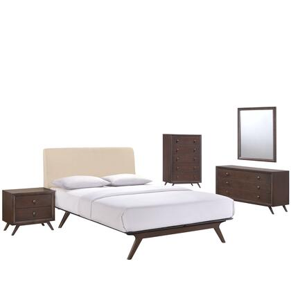 Tracy Collection MOD-5340-CAP-BEI-SET 5 PC Bedroom Set with Queen Size Platform Bed + Dresser + Mirror + Nightstand + Chest in Cappuccino Beige