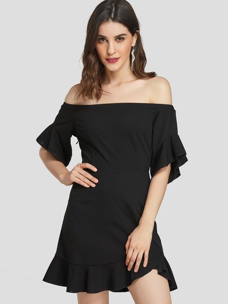 YOINS Black Flounce Details Off The Shoulder Mini Dress