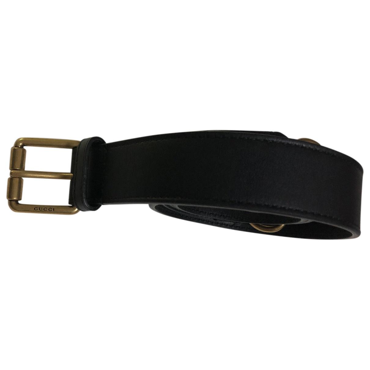 Gucci N Black Leather belt for Women 95 cm