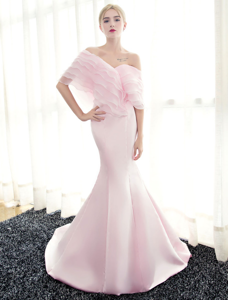 Milanoo Blue Evening Dresses Off Shoulder Mermaid Evening Gown Pleated Satin Formal Dress With Train wedding guest dress