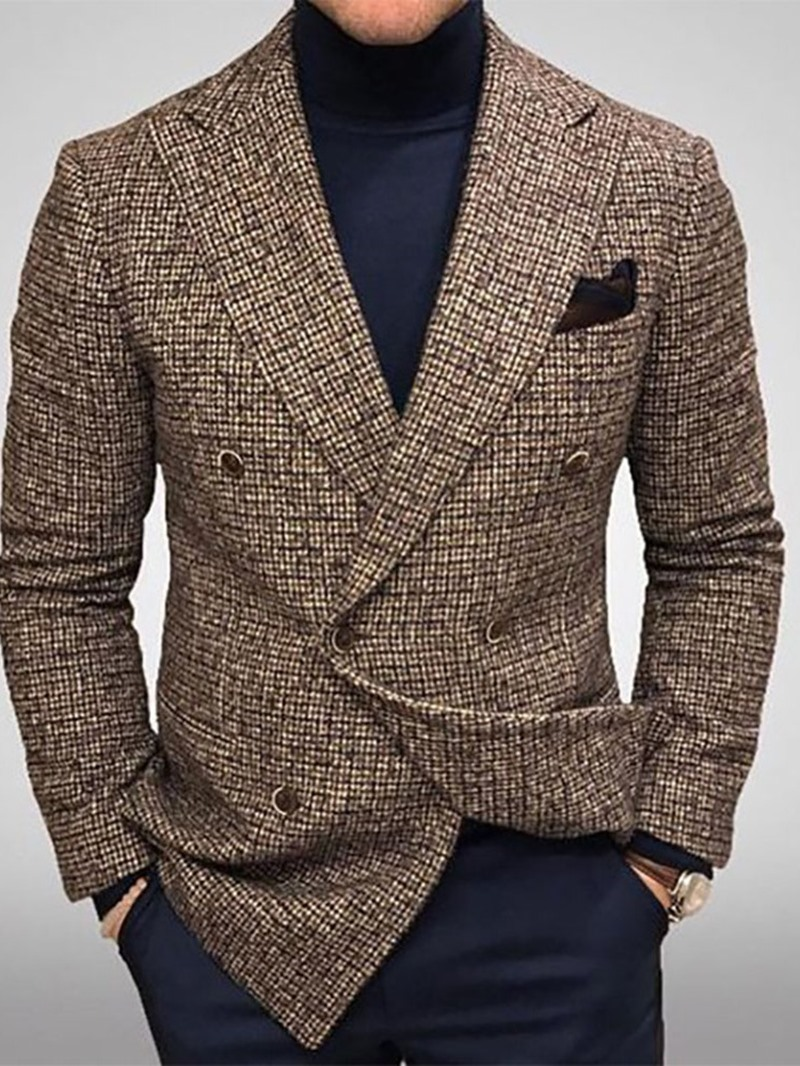 Ericdress Plaid Double-Breasted Notched Lapel leisure Suit