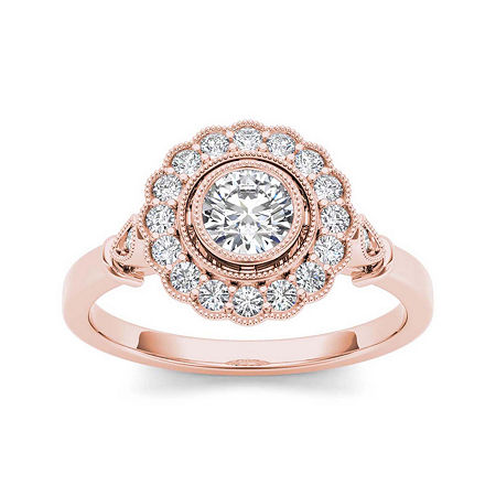 1/2 CT. T.W. Diamond Flower Halo 10K Rose Gold Engagement Ring, 6 , No Color Family