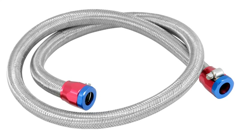 Spectre 29490 Stainless Steel Flex Fuel Line 3/8in. ID - 3ft. w/Clamps Red/Blue