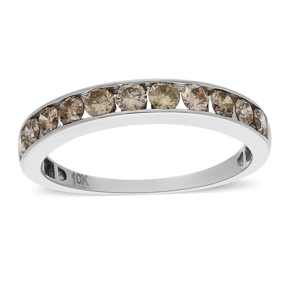 10K White Gold White Diamond Band Ring Size 10 Ct 1 H Color I3 Clarity (White - White)