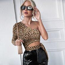 T-Shirt mit einer Schulter frei, seitlichem Band und Leopard Muster
