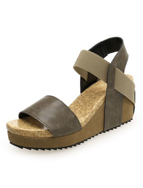 Milanoo Brown Wedge Sandals Women Platform Open Toe Sandal Shoes