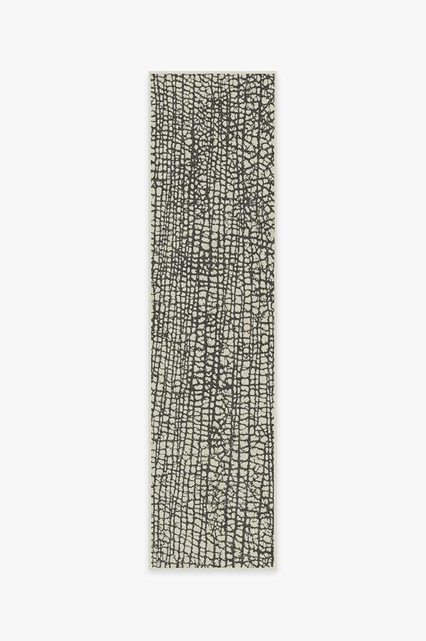Washable Rug Cover & Pad | Crackle Black & White Rug | Stain-Resistant | Ruggable | 2.5'x10'