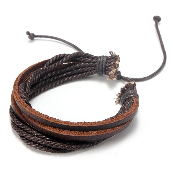 Multilayer Leather Woven Braid Rope Bracelet