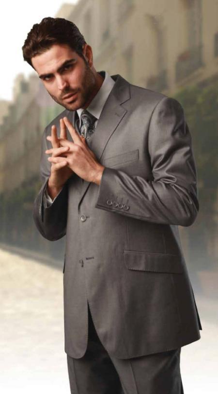 Mens Grey 3 Piece 2 Button Vested Extra Fine Italian Fabric Suit