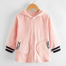 Toddler Girls Striped Letter Embroidered Zip Up Hooded Coat