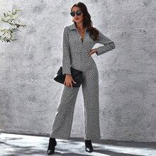 Tweed Palazzo Jumpsuit mit V Kragen und Reissverschluss vorn