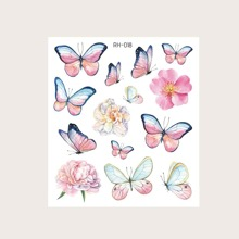 Butterfly Pattern Tattoo Sticker 1sheet