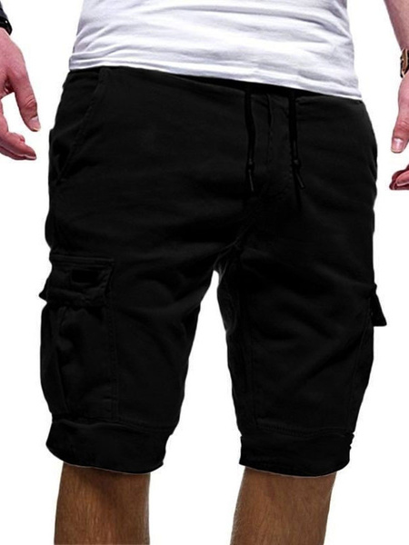 Milanoo Men Cargo Shorts With Pockets Drawstring Waist Summer Beach Bottoms