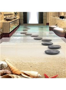 PVC 3D Beach And Stone Non-slip Waterproof Eco-friendly Self-Adhesive Floor Murals