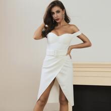 Lucra Buckle Belted Wrap Asymmetrical Hem Bustier Dress