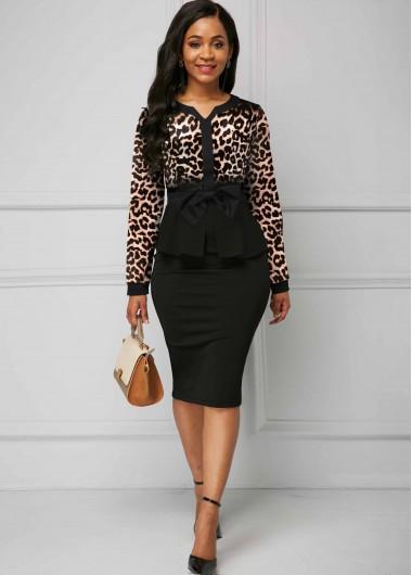 Cocktail Party Dress Long Sleeve Leopard Print Turndown Collar Dress - XS
