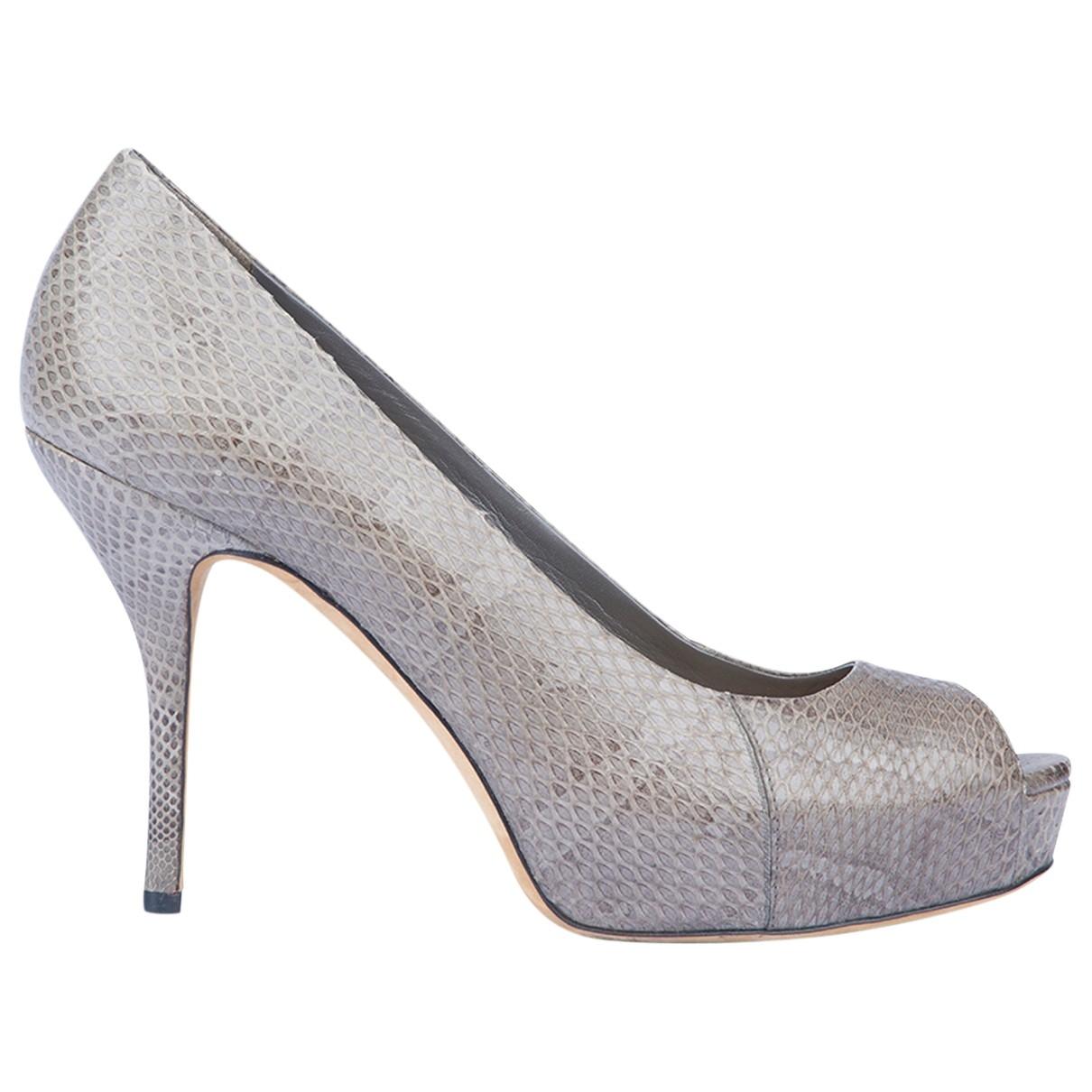 Gucci \N Grey Python Heels for Women 4 UK