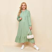 Kleid mit halber Reissverschlussleiste und Kapuze