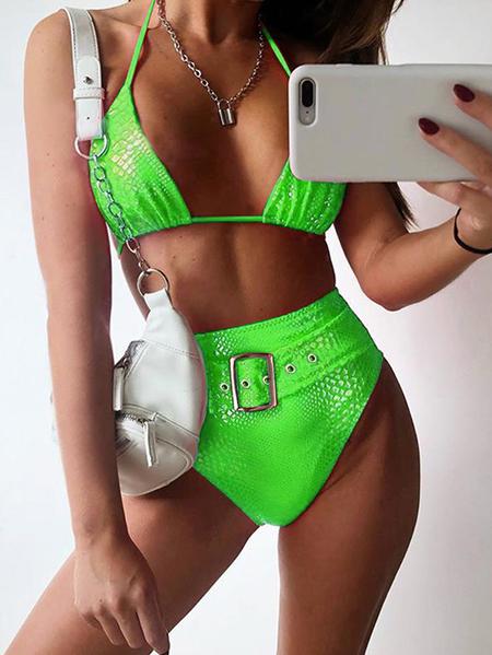 Yoins Belt Design Sexy Halter Sleeveless Bikini Set