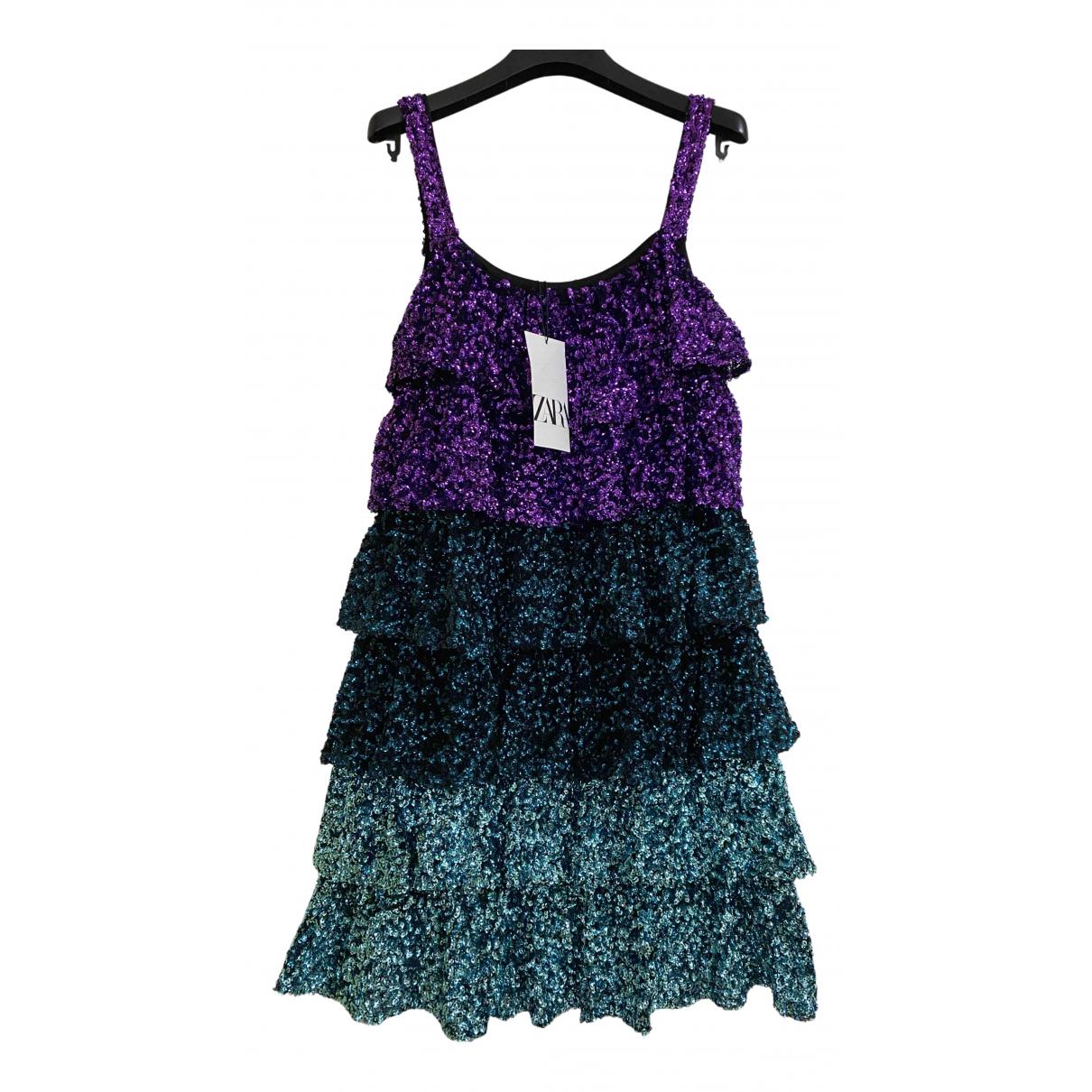 Zara - Robe   pour femme en a paillettes - turquoise
