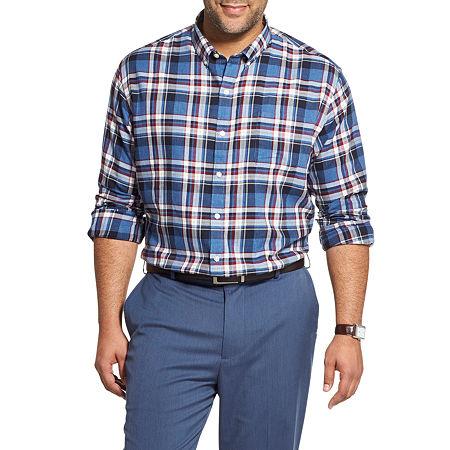 Van Heusen Big and Tall Mens Long Sleeve Plaid Button-Down Shirt, 2x-large Tall , Blue