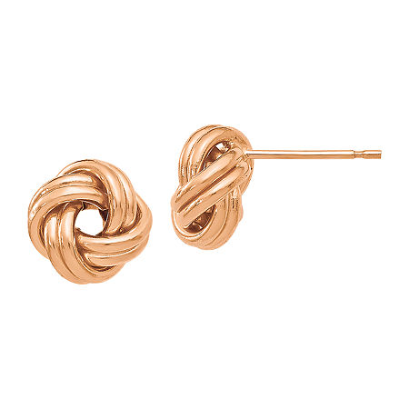 Made in Italy 14K Rose Gold 9mm Knot Stud Earrings, One Size , No Color Family