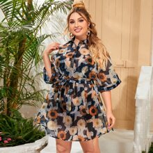 Plus Batwing Sleeve Self Belted Floral Mesh Shirt Dress Without Camisole