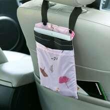 1pc Leaf Print Car Seat Hanging Storage Bag