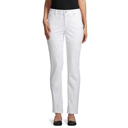 St. John's Bay Womens Mid Rise Straight Leg Jean, 10 Short , White