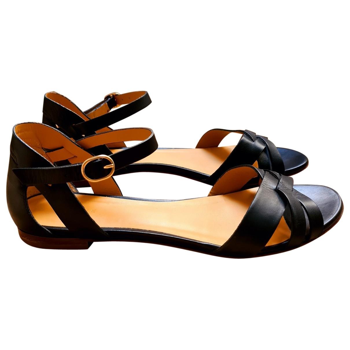 Sézane \N Black Leather Sandals for Women 40 EU