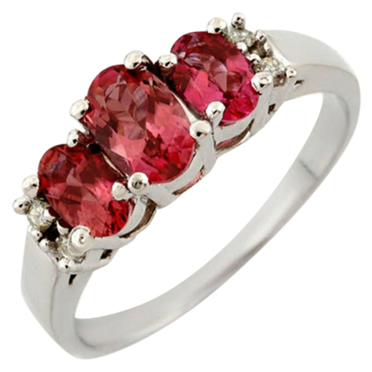 Non Signe / Unsigned Rubis Ring in  Rosa Weissgold