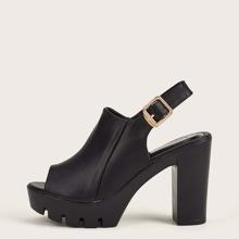 Peep Toe Platform Chunky Heeled Slingback Heels
