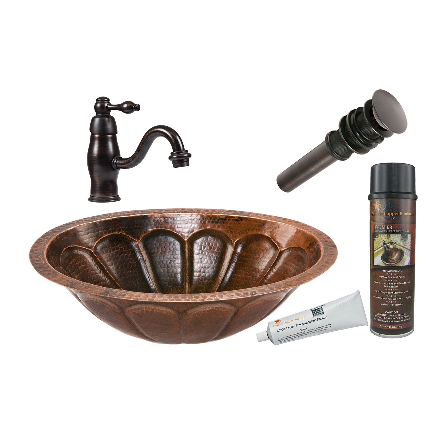 Oval Sunbrst Under Counter Hammered Copper Sink, Faucet and Accessories Package, Oil Rubbed Bronze