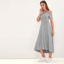 Asymmetrical Neck  Heather Grey Dress