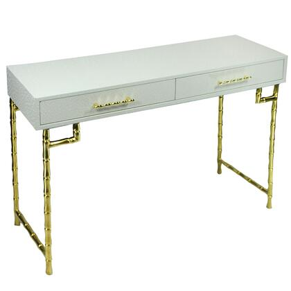 BM206802 Wood and Metal Console Table with Bamboo Style Legs  White and