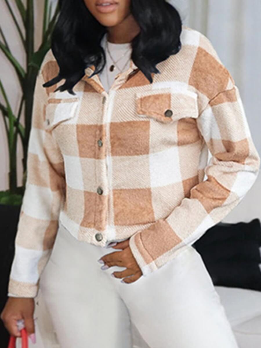 LW Lovely Casual Plaid Print Patchwork Pocket Design Khaki Coat