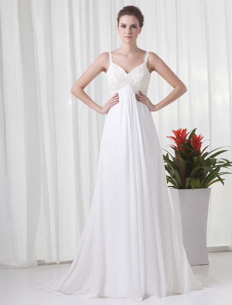 Milanoo Vestidos de novia sencillos ajustada Blanco Vestidos de novia con tirantas finas con correa spaghetti cintura tipo imperio con aplicacion de c