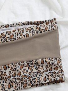 Contrast Leopard Bandeau Bikini Top