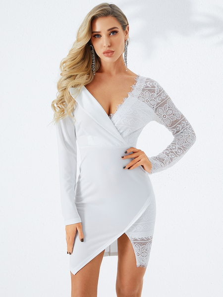 YOINS White Lace Asymmetrical Neck Slit Hem Dress