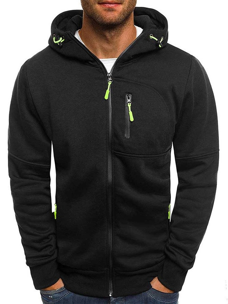 Ericdress Plain Color Zipper Cardigan Mens Hoodies
