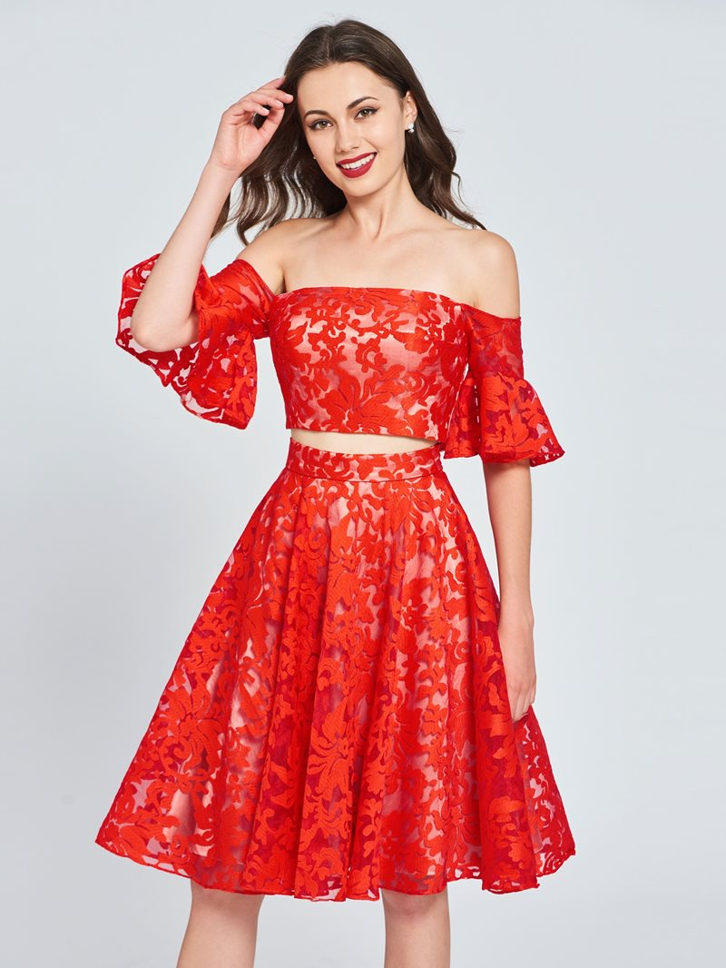 Ericdress Off the Shoulder Lace Two Pieces Homecoming Dress
