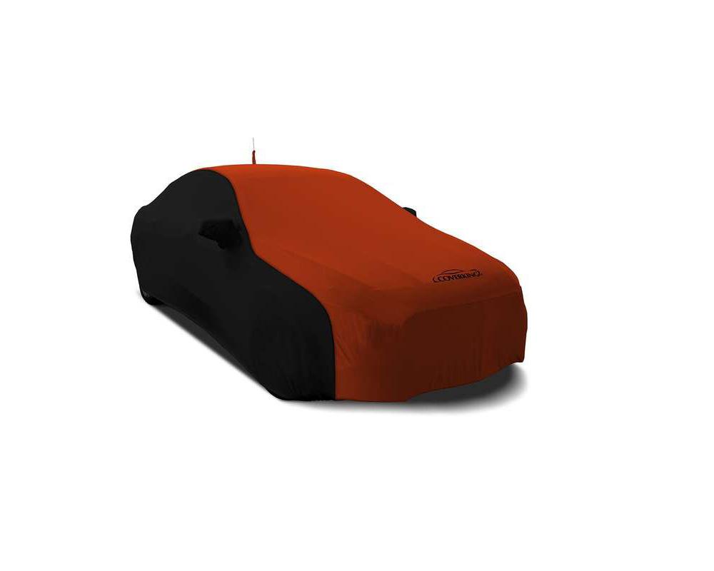 Coverking CVC3SS282PN2057 CVC3SS282 Coverking CVC3SS282PN2057 Satin Stretch 2-Tone Black Sides Go Mango Orange Center Class 3 Custom Car Cover Pontiac