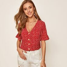 Ditsy Floral Print Flounce Sleeve Button Front Top
