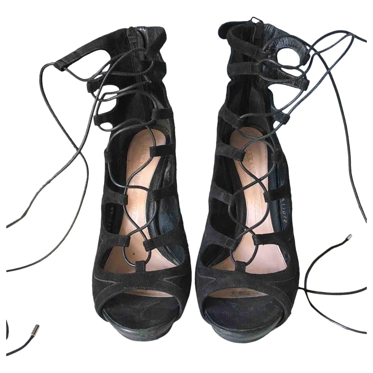 Alexander Mcqueen \N Black Velvet Sandals for Women 38 IT