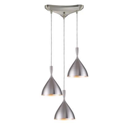17042/3ALM Spun Aluminum 3-Light Pendant in