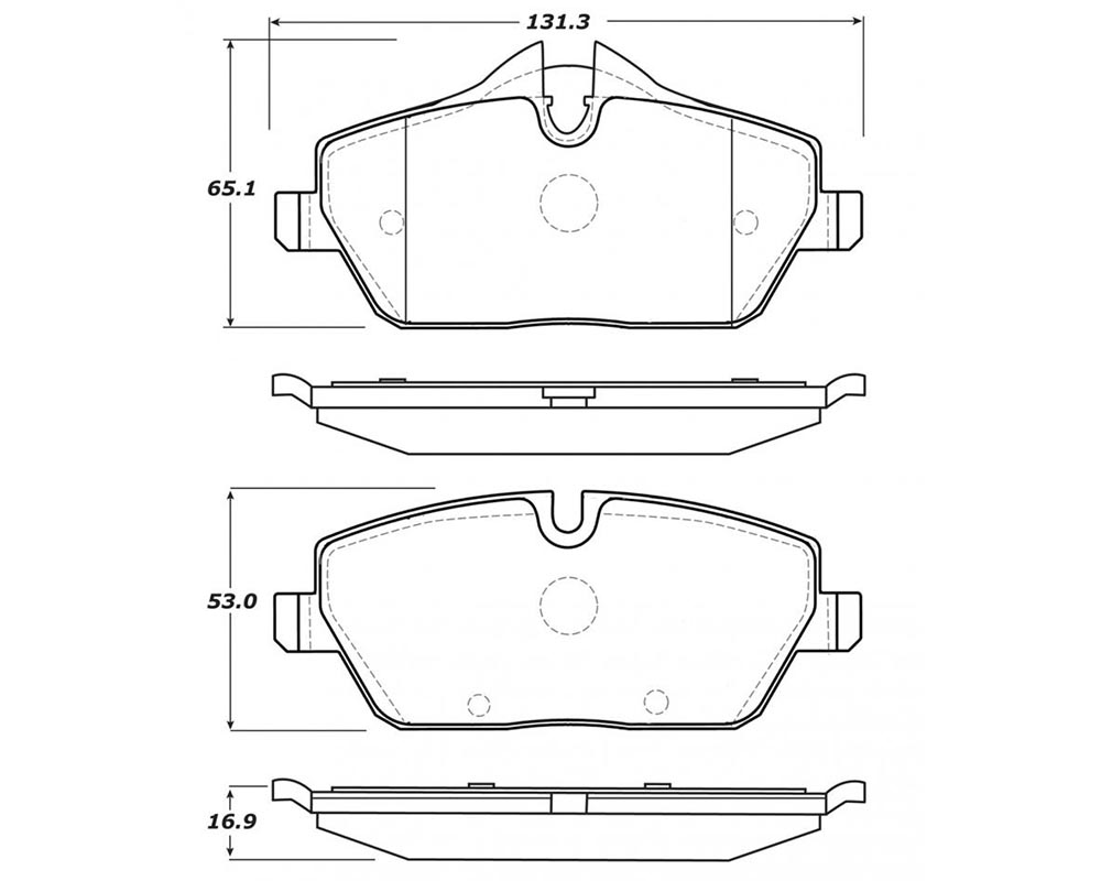 StopTech 308.1308 Street Brake Pads with Shims/Hardware Mini Front