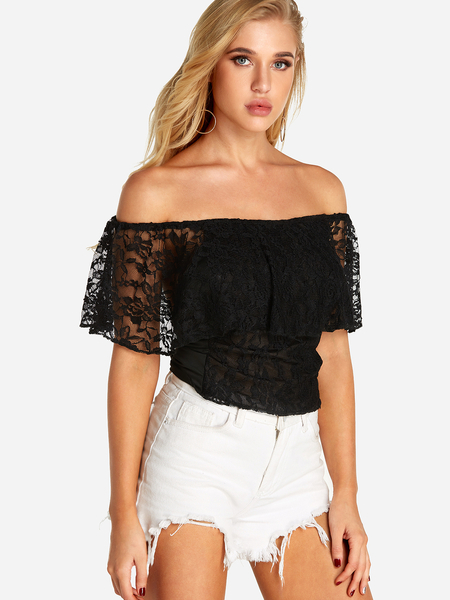 Yoins Black Backless Design Off The Shoulder Short Sleeves Lace Top