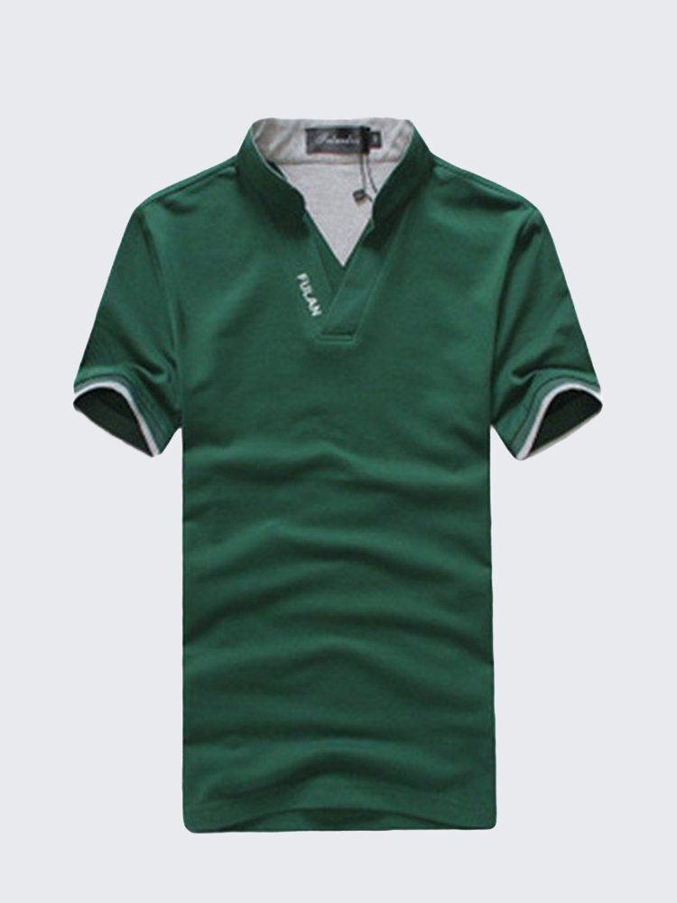 Mens Summer Solid Golf Shirt Stand Collar Short-Sleeved T-shirt Casual Cotton Tees