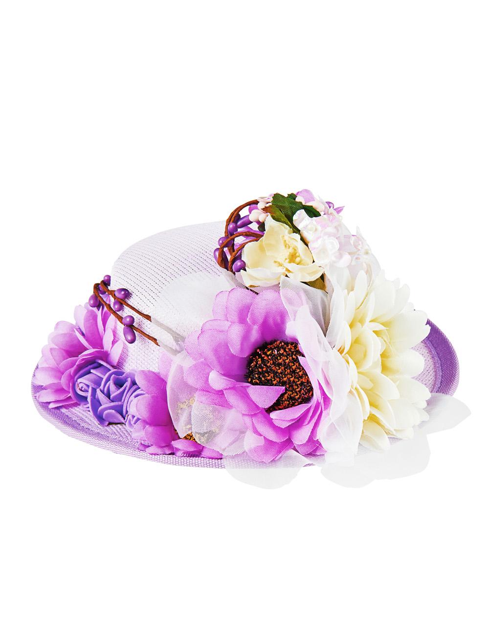 Kostuemzubehor Mini Hut mit Blumen lila 17cm