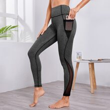 Wide Band Waist Sports Leggings With Phone Pocket